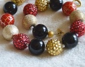 Girls' Red, Gold, and Black Chunky Beaded Necklace: Photo Prop