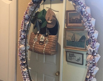 BEACH Cottage Mirror with Custom Grotto Shell Art ~ Barnacles...