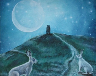 "Hare Print "" Stargate"" Glastonbury Tor. Moon"