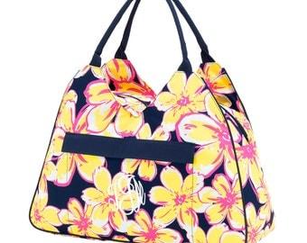 Monogrammed Beach Bag - Beach Bag - Beach Floral Beach Bag - Beach Tote -