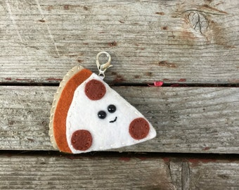 wool felt pepperoni pizza key chain / ornament / car rear view mirror decoration