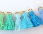 Small Cotton Jewelry Tassels with Matching Binding and Gold Plated Jump Ring, 8 Color Blue and Green Sampler Mix, 8pcs, Approx 25mm