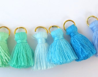 Small Cotton Jewelry Tassels with Matching Binding and Gold Plated Jump Ring, 8 Color Blue and Green Sampler, 8pcs, Approx 25mm, Zardenia