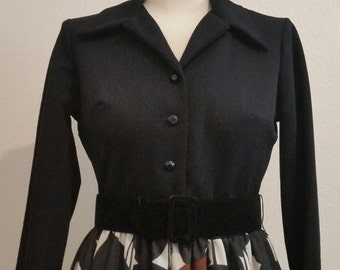 1970's Polyester Hostess Dress, Floral, Shirtwaist Dress, Maxi Dress, Fall Maxi, Size S/M, #60812