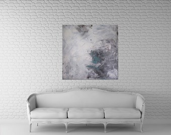 abstract art painting, large art, 36x36, original acrylic canvas, Kris Gould, FREE shipping, modern home decor, contemporary art, grey