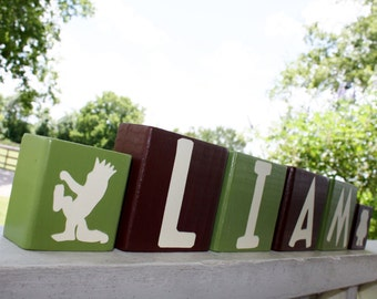 Where The Wild Things Are Letter Blocks - Personalized Name Decor - Baby Shower Nursery Gift