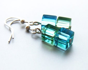 4th July Two Tone Earrings Blue Lagoon Earrings Girlfriend gift for her for woman sister wife friend Geometric Cube Earrings Aqua Blue Green