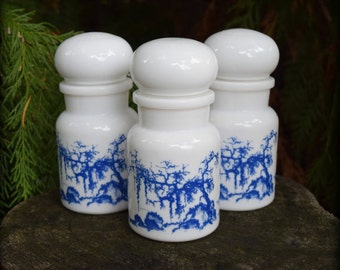Kitchen Witch ~ Vintage White/Blue Apothecary Bottles - Curio Cabinet, Potions - perfect to hold your herbal spell blends or bath salts.