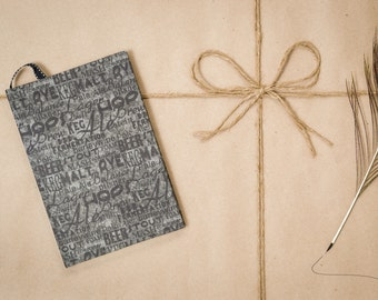 Beer words, grey and black, recipe journal, hard cover, handmade, speciality notebook