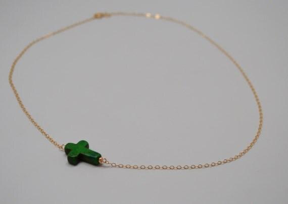Sideways Cross Necklace, Green Sideways Cross Necklace, Green Cross Necklace, Loving You