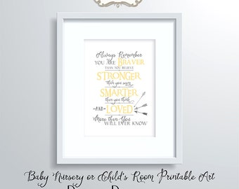 Always Remember You are Braver than You Believe Quote, Saying, Baby Nursery Wall Art, Child's Room Typography, Digital print E15-25D-2