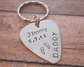 Hand Stamped and Personalized Guitar Pick Key Chain / Great for Father's Day or New Daddy / Child Name, Date of Birth, Handprint