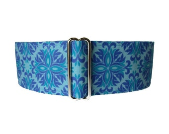 2 inch Martingale Collar, Turquoise Martingale Collar, Turquoise Dog Collar, Azure Blue, Greyhound Collar, Greyhound Martingale, SIghthound