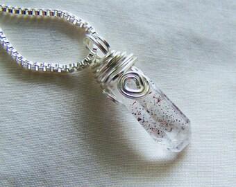 Natural Lepidocrocite Blood Quartz Crystal Pendant