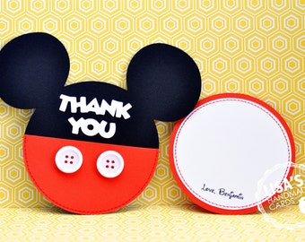 RESERVED for Caroline- Custom Mickey Mouse Thank You Cards, Handmade by Lisa