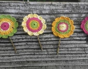 Crochet hair pin handmade unique girl hair pin accessories