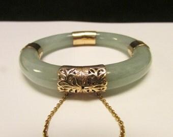 Vintage Estate Ming's of Honolulu 14K Gold Translucent Blue Green Jade Bangle Bracelet