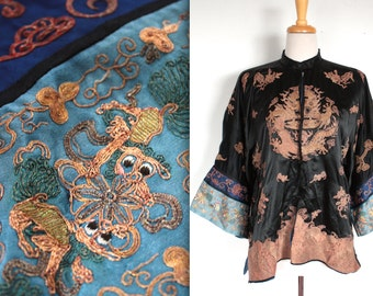 Rare Antique 1920's Silk Robe // 20s 30s Vintage Black Mandarin Jacket with Embroidery // Dragon and Butterflies // Art Deco Decadence