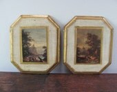 Vintage Italian Florentine Plaques, Set of Two Cream and Gold Vintage Italian Prints