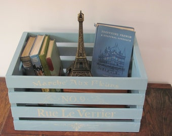 Painted Wooden Crate, Light Blue French Themed Stenciled Wood Crate