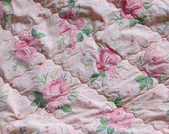 Vintage 1940's Shabby Quilted Roses Fabric-Coral Pink