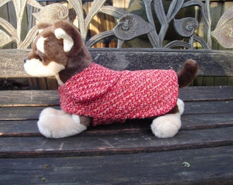 Dog Jacket - Red Orange and Wine Tweed Dog Coat-Size Teacup 5-7 Inch Back Length