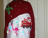 Custom Order - Santa and Skating Pink Reindeer Flamingos,  Ugly, Tacky, Christmas Sweater,  Palm Trees, Beads, Lights