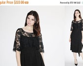 SALE 65% OFF ends 02/16 1930s Black Chantilly Lace Dress  - 30s Black Cocktail Dress  -  The Nights in Barcelona Dress - 8078