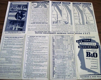 Vintage B & O Railroad Paper Train Schedule Circa 4/27/1952 New York Baltimore Washington