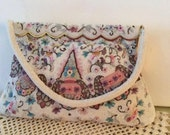 Vintage 1940s 1950s Handbag Clutch Made In Paris Exquisite Hand Strung Micro Beads Floral Pattern Pastel Colors Bridal Evening Bag
