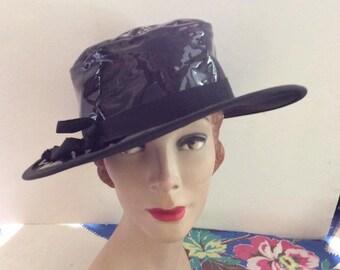 Vintage 1950s 1960s Hat Black Faux Patent Vinyl Large Brim