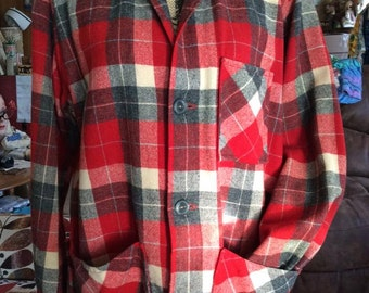 Vintage 1950s Jacket Men's Red Grey 49ers & Pendleton Style Wool Three Pockets Unlined