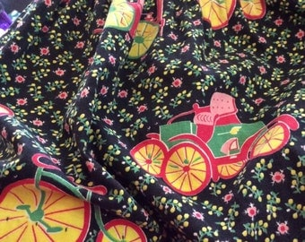 Vintage 1950s Skirt Novelty Print Floral Automobiles Bicycles Home Made