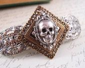 Gothic skull barrette-aged brass filigree-Gothic-Victorian-Medieval-Steampunk S015