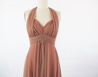 Vintage Dress / 1960s Dress 60s Dress / Chiffon Dress / Cocktail Dress / Halter Dress / Wedding Dress Nude Sheer Chiffon Evening Gown