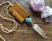 Tiger eye beaded necklace, raw crystal bohemian necklace, tiger eye slice pendant necklace