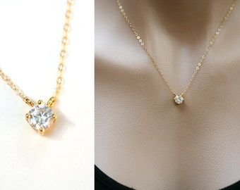 Sale-Gold tiny dot necklace,CZ necklace,Small dot necklace,Diamond cut tiny dot Necklace,Bridesmaid gift,Wedding gift,Bridal Jewelry