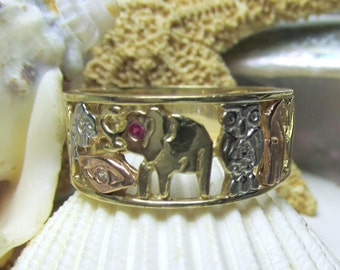 14k Lucky Symbols Talisman Ring White Yellow and Rose Gold 6.14g Size 9.5