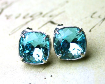 Aqua Crystal Stud Earrings In Sterling Silver - Swarovski Crystal Cushion Cut Stones In Light Turquoise Blue Set In Sterling Silver Posts