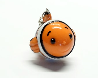 Cold Porcelain Clown Fish Pendant, Clown Fish Ornament, Clown Fish Purse Charm, Clown Fish Clay Charm, Clown Fish Keychain, Bag Charm, Gift