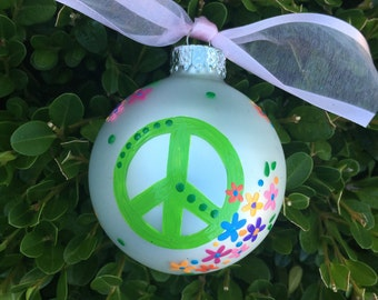 Peace Sign Ornament - Personalized Ornament- Hand Painted Christmas Bauble, Glass Ball, Hippie Art, Yoga Gift, Peace Symbol, Teen Room Decor