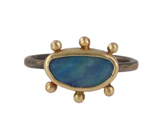 Boulder Opal Relic Ring - Boulder Opal, Recycled 14k Gold, & Sterling Silver - Mixed Metals, Black and Gold, OOAK