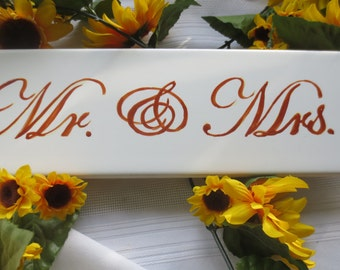 Mr and Mrs hand painted Tile Wedding Announcement