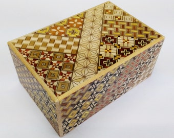 Japanese Puzzle box (Himitsu bako)- 6inch (150mm) 7steps and 7steps Yosegi-Double Compartment