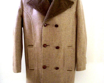 Vintage 70s Mens Brown Winter Coat by Botany 500 - Brown Flecked Wool Overcoat with Pile Collar - Double Breasted Tweed Coat - Size 38 R