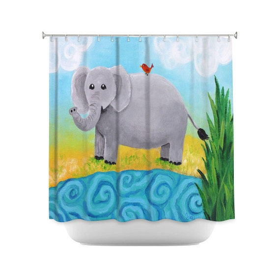 Elephant shower curtain for kids bathroom decor by njoyart for Elephant bathroom accessories