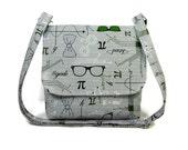 Small Gray Crossbody Bag for Women, Geek Purse, Ladies Messenger Bag, Fabric Purse, Cotton Pocketbook, Science Print Handbag, Gray Green Bag