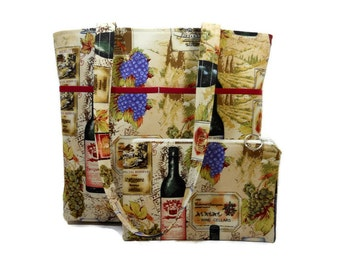 Fabric Tote Bag, Wine Bottle Print Purse, Zipper Pouch Included, Medium Shoulder Bag, Cotton Tote Purse, Double Strap Bag, Key Clip, USA
