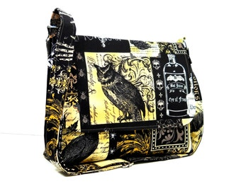 Nevermore Poe Themed Purse, Fabric Crossbody Bag, Gothic Messenger Bag for Women, Cross Body Purse, Medium Shoulderbag Brown, Black, Yellow