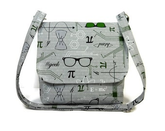 Small Gray Crossbody Bag for Women, Geek Purse, Ladies Messenger Bag, Fabric Purse, Cotton Pocketbook, Science Print Handbag, Gray Green Bag